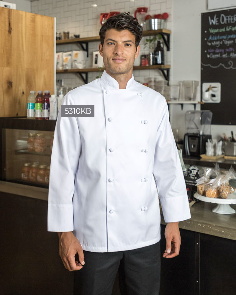 Spun Polyester Chef Coat With Knot Buttons