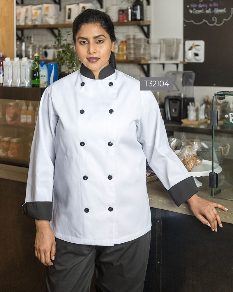 Spun Polyester Chef Coat With Plastic Buttons