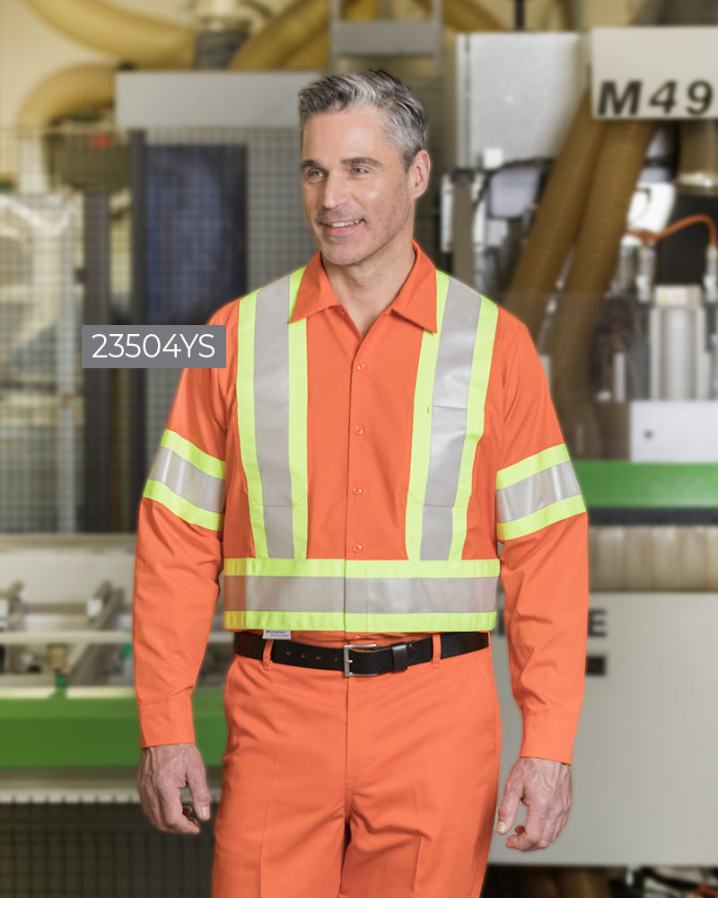 Poly/Cotton Work Shirt With 4″ Reflective Tape