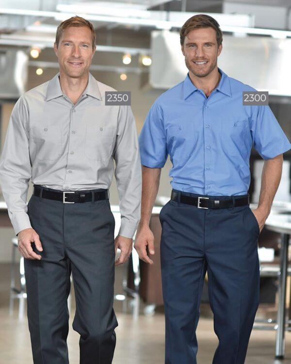 Poly/Cotton Work Shirts 2350GRY-2300BLU   Premium Uniforms