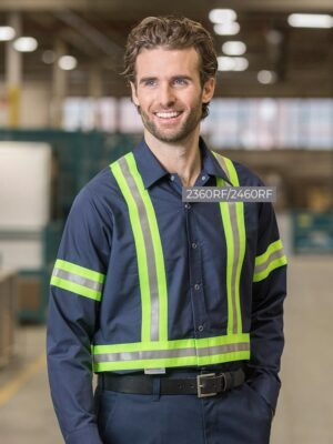 """Food Industry Work Shirts with 2"""" Reflective Tape 2360RF-OR-24602YS 