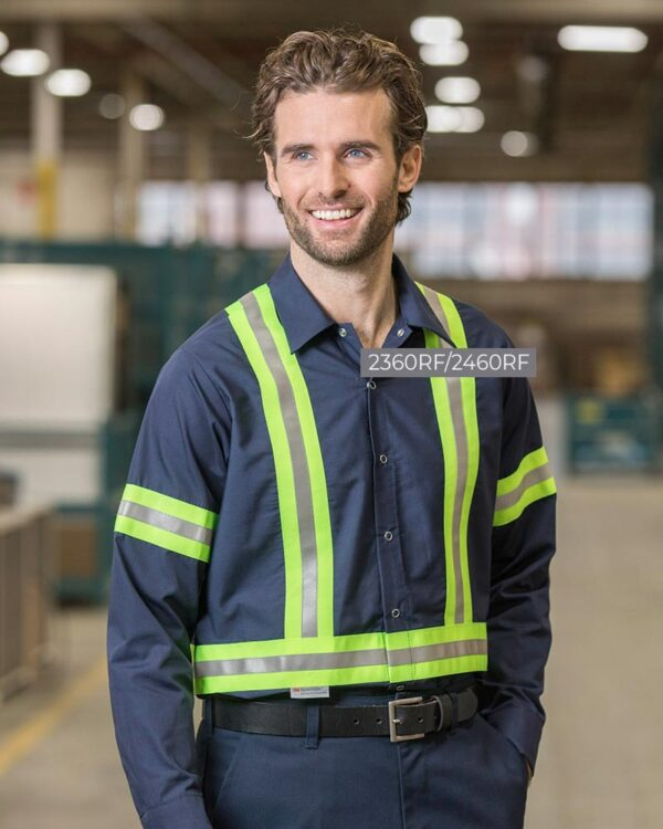 """Food Industry Work Shirts with 2"""" Reflective Tape 2360RF-OR-24602YS   Premium Uniforms"""