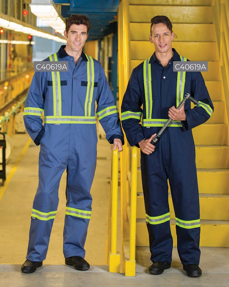100% Cotton Zipper Front Coveralls With 2″ Reflective Tape