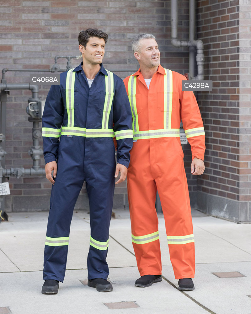 100% Cotton Button Front Coveralls With 2″ Reflective Tape