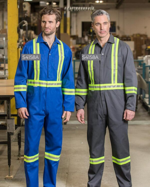 """Poly/Cotton Zipper Front Coveralls with 2"""" Reflective Tape S4158A-S4158A 